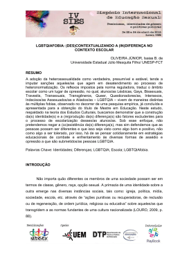 LGBTQIAFOBIA: (DES)CONTEXTUALIZANDO A (IN)DIFERENÇA