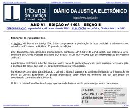 TJ-GO DIÁRIO DA JUSTIÇA ELETRÔNICO - EDIÇÃO 1403