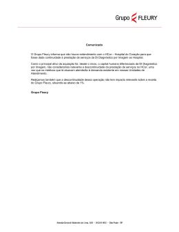 Comunicado O Grupo Fleury informa que não houve entendimento
