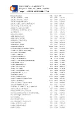 Relação de Notas por Ordem Alfabética IMES/FAFICA