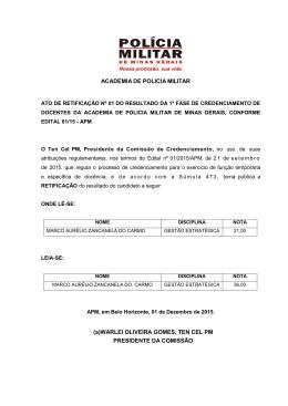 ACADEMIA DE POLICIA MILITAR (a)WARLEI OLIVEIRA GOMES
