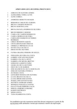 APROVADOS LISTA DE ESPERA PROUNI 2015/1 1