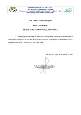 Resultado Parcial - Universidade Federal do Acre