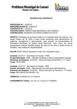 Extrato de Contrato 147/2015 Inexigibilidade Nº.: 024/2015
