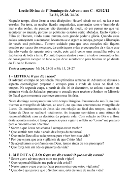 Lectio Divina do 1º Domingo do Advento ano C – 02/12/12