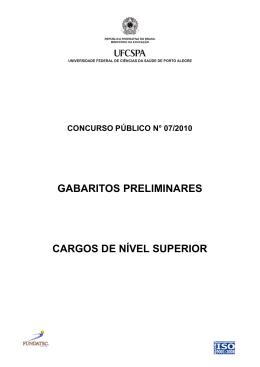 gabaritos preliminares cargos de nível superior