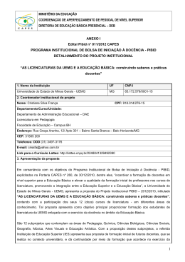 Projeto Institucional - PIBID UEMG