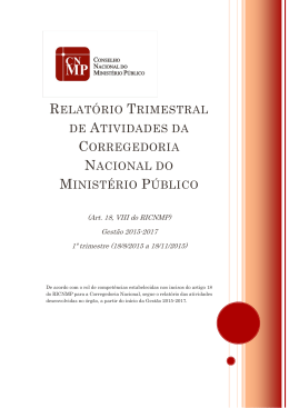 1º Relatório Trimestral - Gestão 2015-2017
