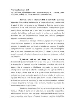 Tutoria sedutora em EAD Por: OLIVEIRA, Marcos Moreira de