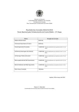 Resultado das Inscrições Edital 01/2015 Pacto Nacional