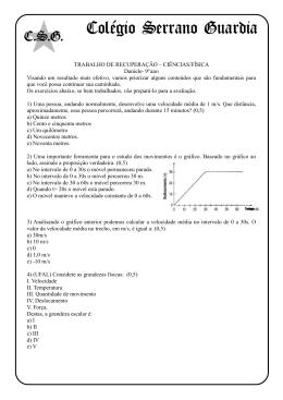 TRABALHO DE RECUPERAÇÃO – CIÊNCIAS/FÍSICA Daniele