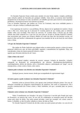 CARTILHA DOS JUIZADOS ESPECIAIS CRIMINAIS Os Juizados