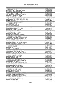 Lista de Inscritos pelo ENEM Nome Inscrição no ENEM ABEL