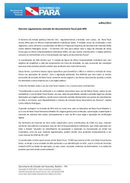 Decreto regulamenta emissão de documentário fiscal pelo MEI