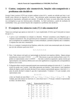 1 Cantor, conjuntos não enumeráveis, funções não