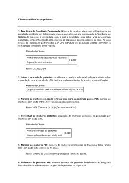 Cálculo da estimativa de gestantes 1. Taxa Bruta de Natalidade