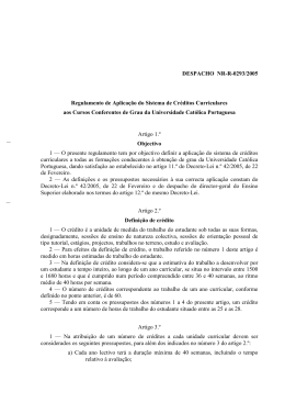 Regulamento de aplicação dos créditos curriculares