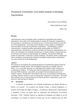 Pensamento Combinatório: Uma análise baseada na Estratégia