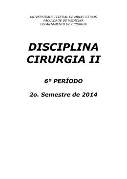 DISCIPLINA CIRURGIA II - Universidade Federal de Minas Gerais
