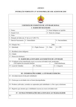 ANEXO I INSTRUÇÃO NORMATIVA Nº 45 INSS/PRES