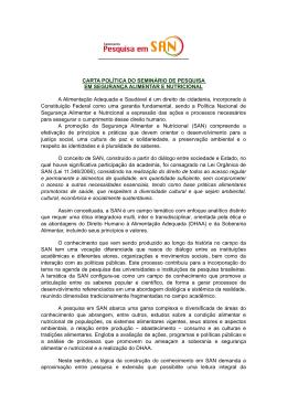 CARTA POLÍTICA DO SEMINÁRIO DE PESQUISA EM