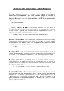 Orientações para elaboração da Ficha Catalográfica