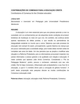 CONTRIBUIÇÕES DE COMENIUS PARA A EDUCAÇÃO CRISTÃ