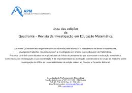 Lista das edições da Quadrante - Associação de Professores de