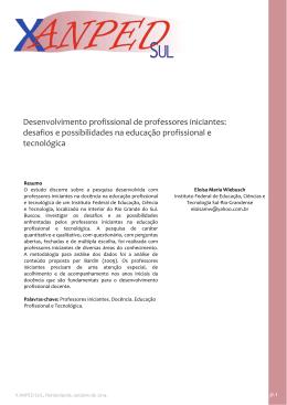 Desenvolvimento profissional de professores iniciantes: desafios e