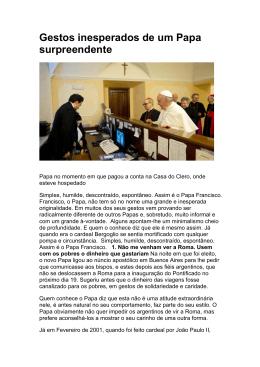 Gestos inesperados de um Papa surpreendente - OFS