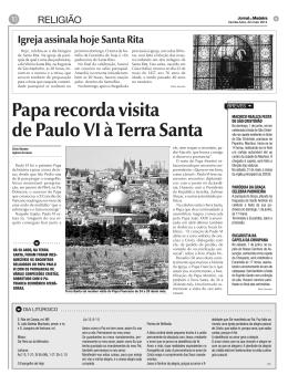 Papa recorda visita de Paulo VI à Terra Santa