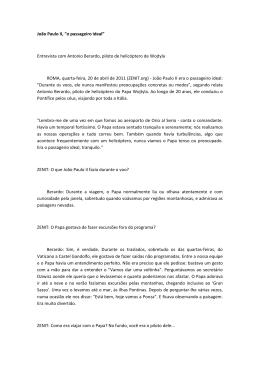 """João Paulo II, """"o passageiro ideal"""" Entrevista com Antonio Berardo"""