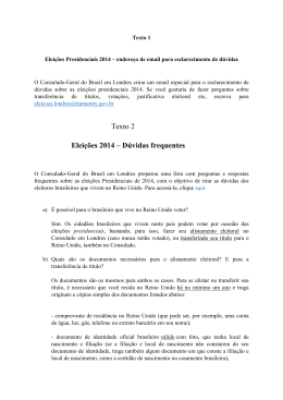 Texto 2 Eleições 2014 – Dúvidas frequentes