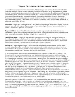 Código de Ética e Conduta de Governador de Distrito