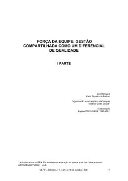 FORÇA DA EQUIPE: GESTÃO COMPARTILHADA