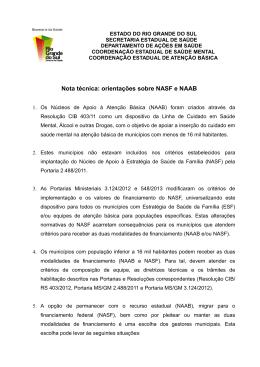 Nota técnica: orientações sobre NASF e NAAB