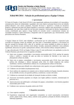 Edital 001/2014 – Seleção de profissional para a Equipe