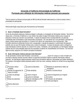 Permissão para utilização de informações médicas pessoais para
