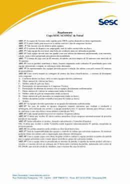 Regulamento Copa SESC/ACOMAC de Futsal