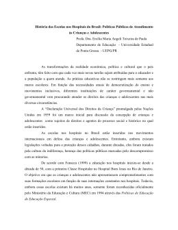 História das Escolas nos Hospitais no Brasil: Políticas
