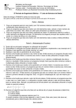 Lista 1 - Revisão de Matrizes e Modularização