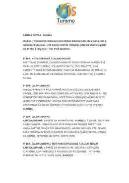 CALDAS NOVAS - 06 DIAS 06 dias | Transporte