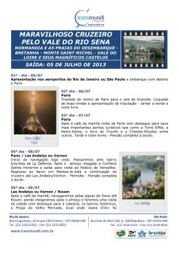 MARAVILHOSO CRUZEIRO PELO VALE DO RIO SENA