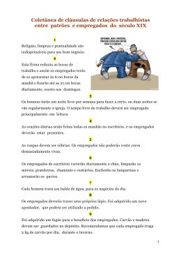 Coletânea de cláusulas de relações trabalhistas do século XIX