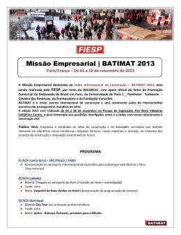 Missão Empresarial | BATIMAT 2013