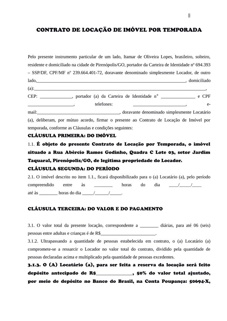 Contrato De Locação Casa Vista Do Frota