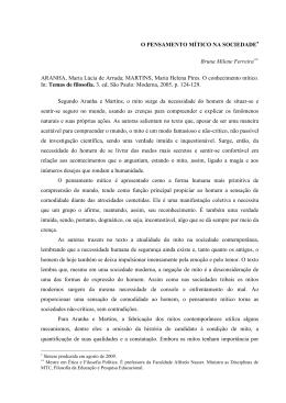 O PENSAMENTO MÍTICO NA SOCIEDADE Bruna Milene Ferreira