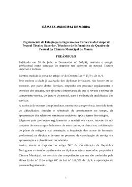 Projecto de Regulamento de Estágio para Ingresso nas Carreiras