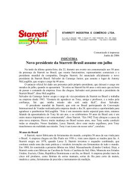 Novo presidente da Starrett Brasil assume em julho