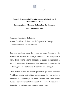 Tomada de posse do Novo Presidente do Instituto de Seguros